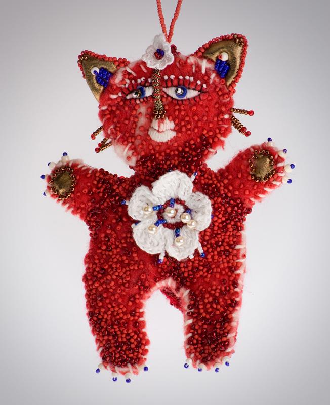 Ольга Полонская «Красный котик»- подвеска на сумку